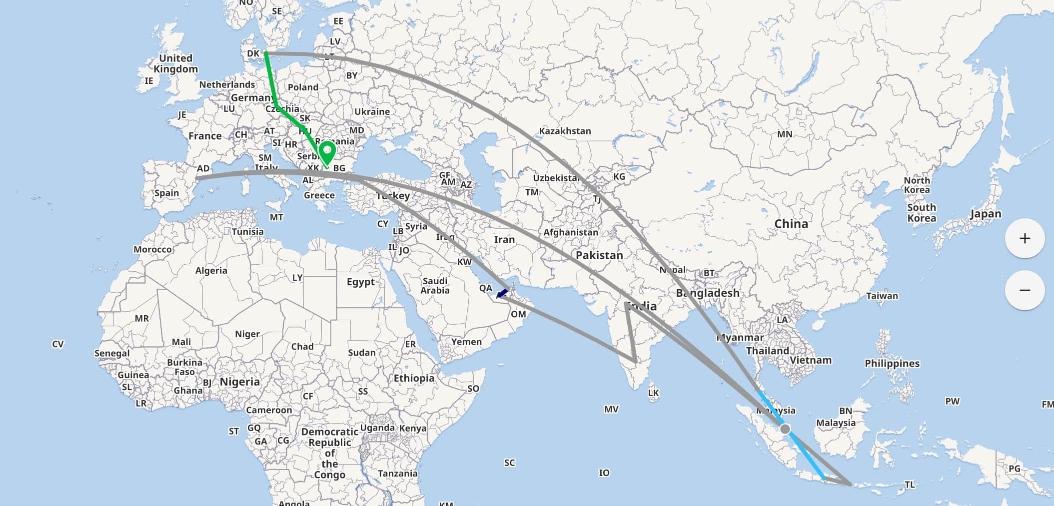 A Map of Ranajay's Travels in 2019